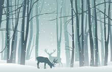 Vector Winter Landscape With B...