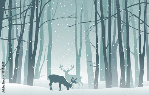Staande foto Bleke violet Vector winter landscape with blue silhouettes of trees in the forest and deer with falling snow