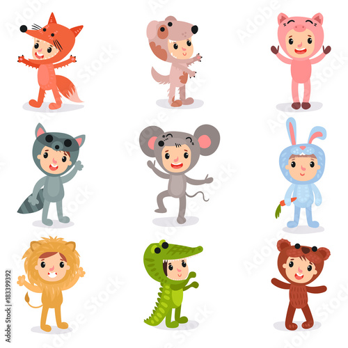 Aluminium Prints Wild West Set of cartoon little kids characters in animal costumes fox, puppy, pig, raccoon, mouse, bunny, lion, crocodile and bear. Isolated flat vector design