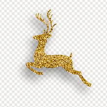 Deer With Golden Sparkles On T...