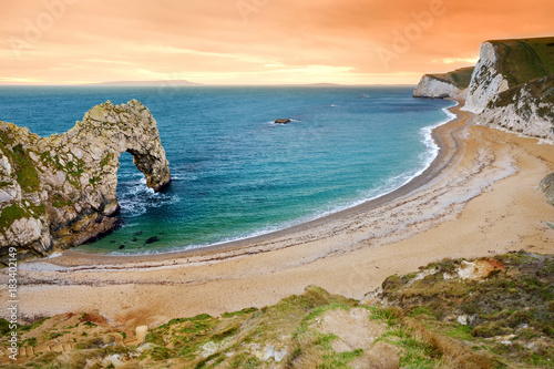 Durdle Door, natural limestone arch on the Jurassic Coast near Lulworth in Dorset, England.