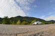 Asphalt road in the mountainous terrain in the morning