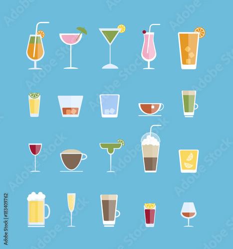 Alcohol drinks set. Tableau sur Toile