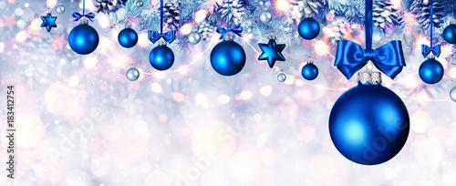 blue christmas balls hanging at fir branches - Blue Christmas Balls