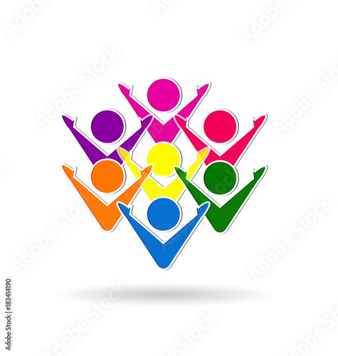 Colorful Teamwork Business Meetinghappiness People Or Unity