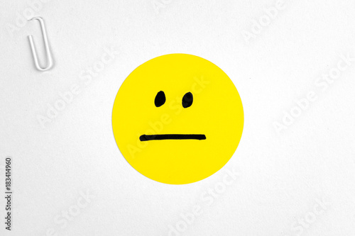 Fotografie, Obraz  Indifferent neutral emoticon card. Voting concept