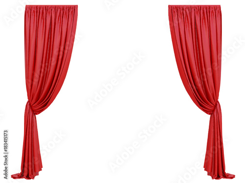 Fotografie, Obraz curtain of a theater or a opera opening on a white background 3d rendering