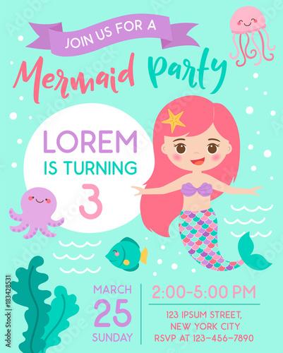 Cute Mermaid And Sea Life Cartoon For Party Invitation Card Template