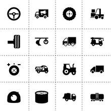 Truck Icons. Vector Collection Filled Truck Icons