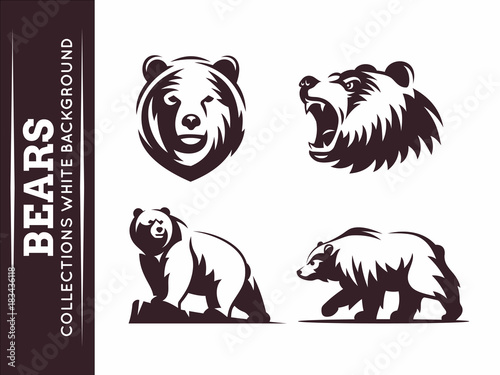 Bears collections - vector illustration on white background Fototapet