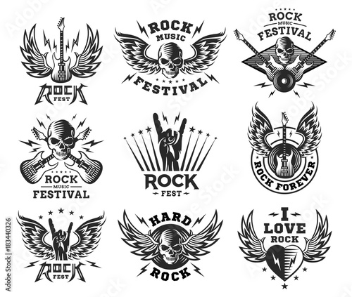 Photo Rock music festival logo, illustration and print collections on a white backgrou
