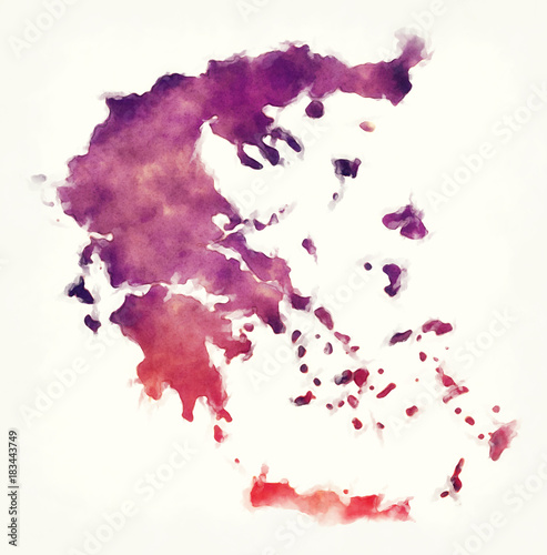 Greece watercolor map in front of a white background Wallpaper Mural