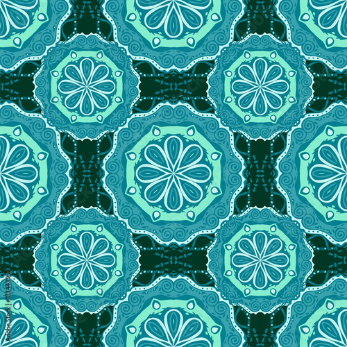 Photo Seamless pattern with mandalas in beautiful colors