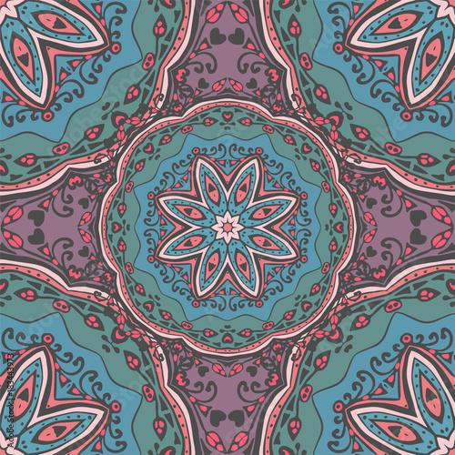 Seamless pattern with mandalas in beautiful colors Wallpaper Mural