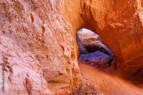 Interior de la cueva La Encantada. Las Médulas. Explotación minera de oro romana. Patrimonio de la Humanidad de la Unesco. El Bierzo, León, España.