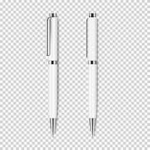 Two White Realistic Pen On Tra...
