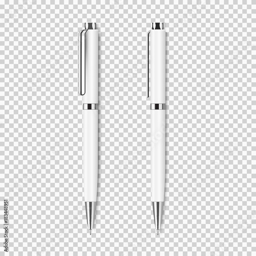 Photo Two white realistic pen on transparent background