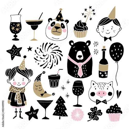 Set Of Hand Drawn New Year Or Birthday Graphic Elements Childrens