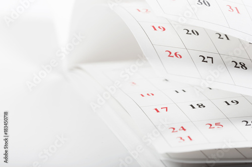 Deurstickers Textures Calendar pages close up business time concept