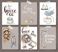 Vector Sketchy Card Set. Cozy ...