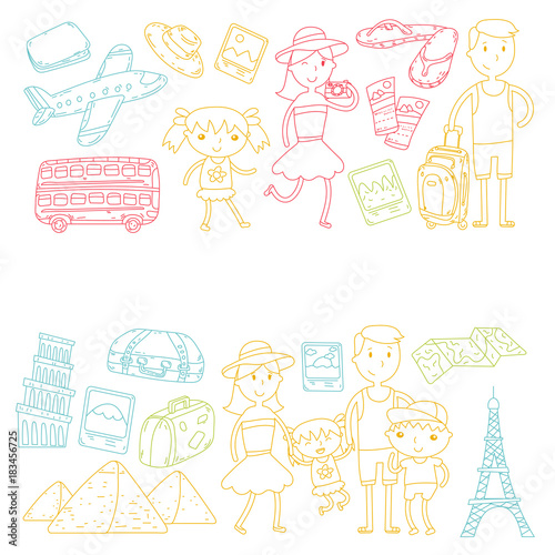 Foto auf AluDibond Boho-Stil Doodle vector set Travel , vacation, adventure. Children with parents Preparing for your journeys. Kindergarten, school summer vacation Kids drawing