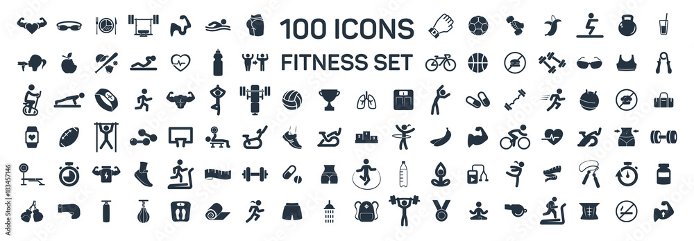 Fototapeta fitness and sport 100 isolated icons set on white background