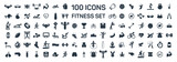 fitness and sport 100 isolated icons set on white background