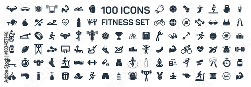 Fotografia  fitness and sport 100 isolated icons set on white background