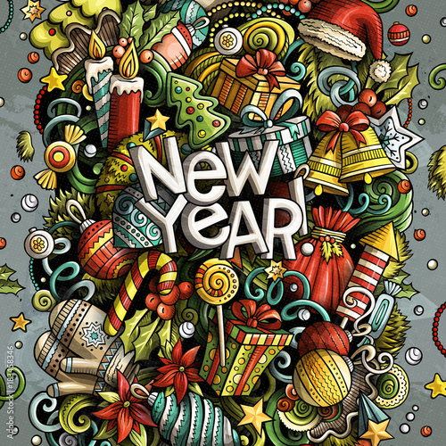 Spoed Foto op Canvas Graffiti Cartoon vector doodles New Year illustration