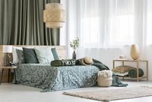 Rattan Lamp In Bedroom Interior