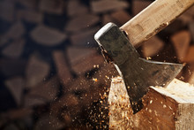 Chopping Wood With Axe - Close...