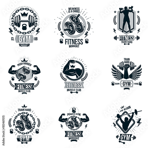 Photo sur Toile Papillons dans Grunge Set of vector cross fit and fitness theme emblems and motivational posters created with dumbbells, barbells, kettle bells sport equipment and muscular athlete body silhouettes.