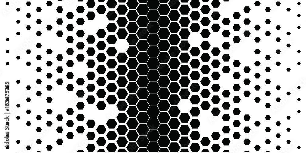 Fototapety, obrazy: black_hexagons_on_white_2