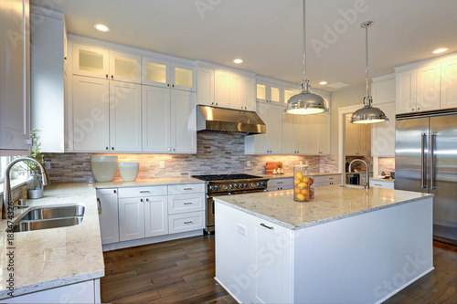 Luxury White Kitchen With Large Kitchen Island Buy This