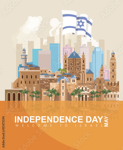 Fotografie, Obraz  Israel Independence day vector greeting card in modern style
