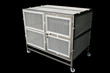 Cage stainless for pet or all animal and protect mosquito on isolated black. Concept pet supplies