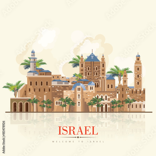 Fototapety, obrazy: Israel vector banner with jewish landmarks. Travel poster in flat design
