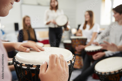 Teenage Students Studying Percussion In Music Class Fototapete