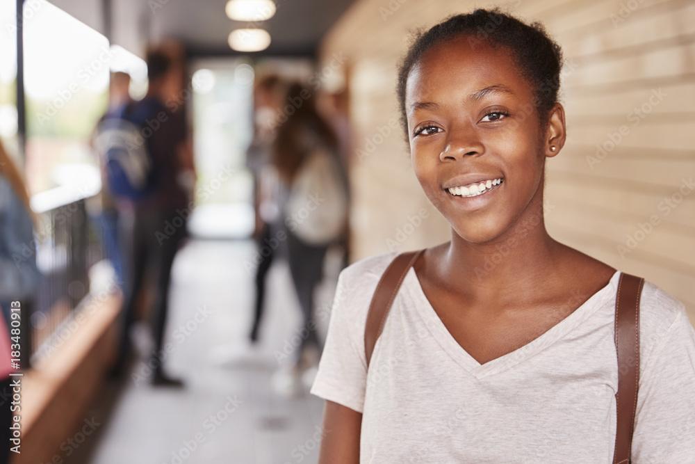 Fototapeta Portrait Of Female Teenage Student On College With Friends