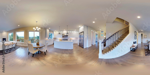 Fotografia  3d illustration spherical 360 degrees, seamless panorama of interior design