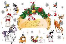 Christmas Set Of Cute Animals In Winter Hats.  Green Garland With Santa. Hand Drawn Vector Illustration.