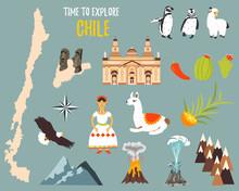 Big Set With Landmarks, Animals, Symbols Of Chile