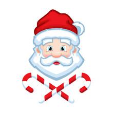 Santa Claus Face Cartoon Vector Illustration