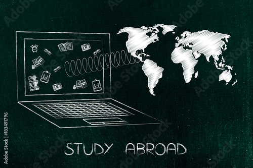 Study World Map.Study Abroad Laptop With School Objects On The Screen And World Map
