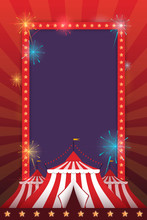 Vector Template For Holiday With A Tent And Fireworks. Carnival And Fun.