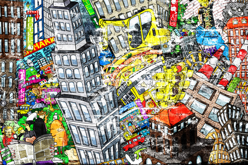 City, an illustration of a large collage, with houses, cars and people © Zarya Maxim