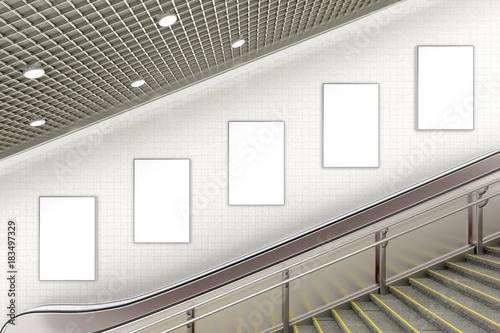 Obraz na plátně Blank advertising poster on underground escalator wall