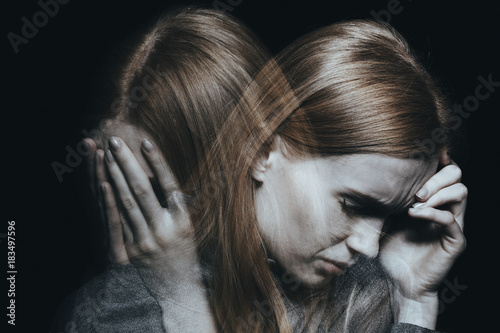 Fototapeta Female with mood disorder