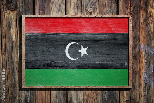 Wooden Libya flag