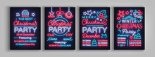 Christmas Party Collection Of Invitation Templates, Brochures, Posters. Merry Christmas, Set Of Holiday Cards In Neon Style. Postcard, Flyer Bright Sacred Banner Advertising For Your Holiday Projects
